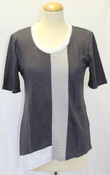 Tanja Bach Interessantes T-Shirt aus 100% Leinen-Jersey im Farbmix