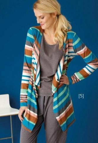 Madness Bio-Baumwolle Jersey-Jacke mit Gürtel bunte Streifen